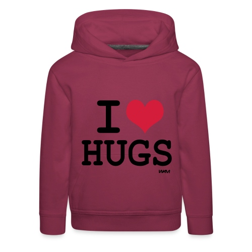 i love hugs hoody with text on back - Kids' Premium Hoodie
