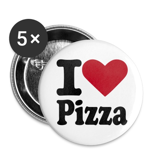 I <3 PIZZA - Buttons/Badges stor, 56 mm (5-pack)