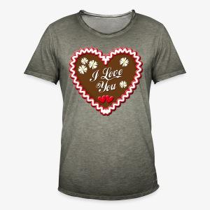 I Love You Lebkuchenherz Edelweiss Männer T-Shirt - Männer Vintage T-Shirt