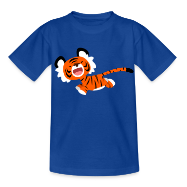 Navy Cute Running Cartoon Tiger by Cheerful Madness!! Kids' Shirts