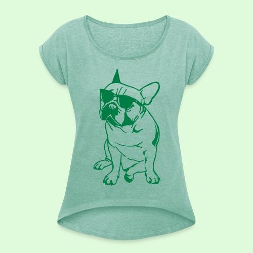 Bouledogue au soleil - T-shirt à manches retroussées Femme