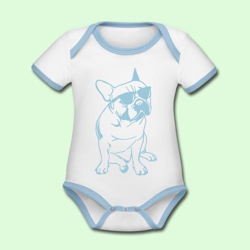 Bouledogue au soleil - Body Bébé bio contrasté manches courtes