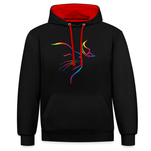 rainbow butterfly cat - Kontrast-Hoodie