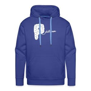 Männer Premium Hoodie - Hoodi in blau. Das Motiv  ist weiß und im Flockdruck aufgebracht.