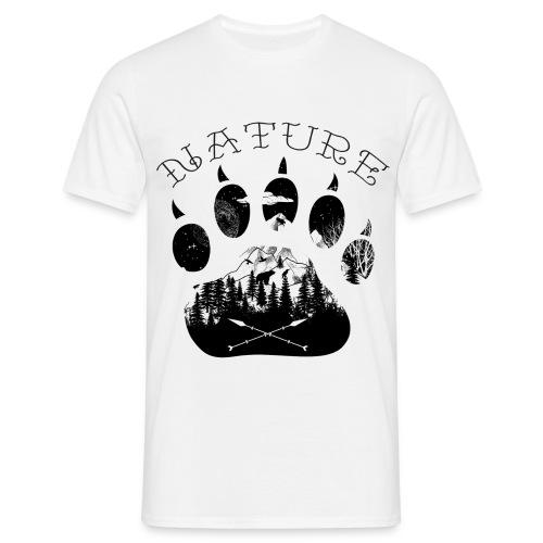 Bärenpfote Tattoo mit Berge - Männer T-Shirt