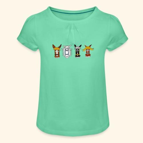 T-Shirt mit lustiger Pferdestaffel Hotte Hü - Mädchen-T-Shirt mit Raffungen