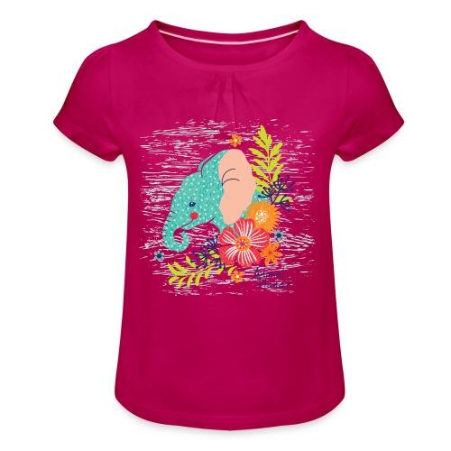 Elefant - Mädchen-T-Shirt mit Raffungen