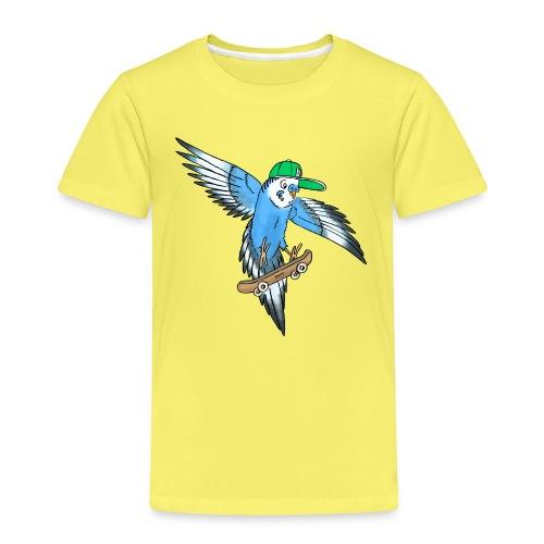 Blauer Kickflip Wellensittich mit grüner Cap - Kinder Premium T-Shirt