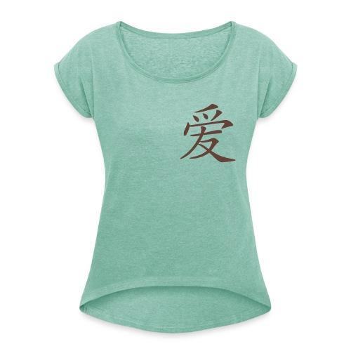 Front Chinesisches Zeichen Liebe  DAO - Back MPS Walking Together,  Rollärmelshirt ( Print: Digital Chocolate) - Frauen T-Shirt mit gerollten Ärmeln