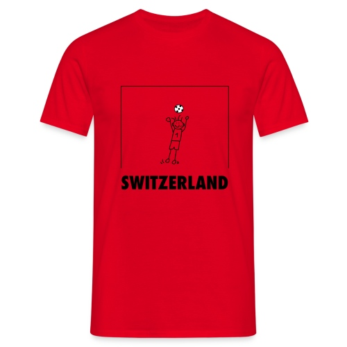 Cooles Schweiz-Fussball-Shirt mit Cartoon Goalie - Männer T-Shirt