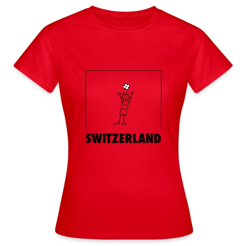 Cooles Schweiz-Fussball-Shirt mit Cartoon Goalie - Frauen T-Shirt