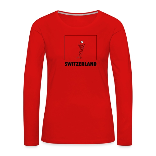 Cooles Schweiz-Fussball-Shirt mit Cartoon Goalie - Frauen Premium Langarmshirt