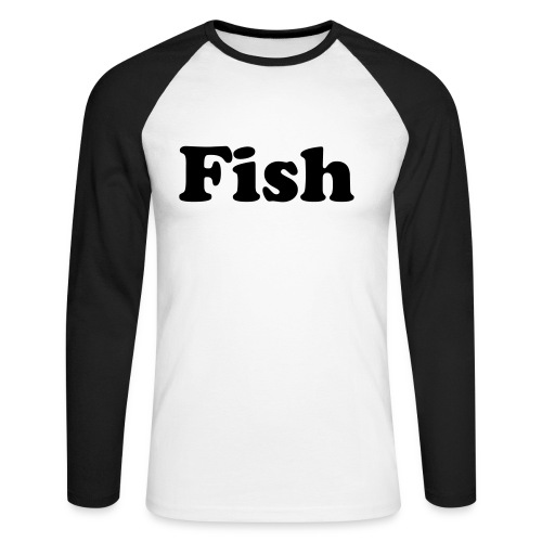 fish T-Shirt white/b - Men's Long Sleeve Baseball T-Shirt