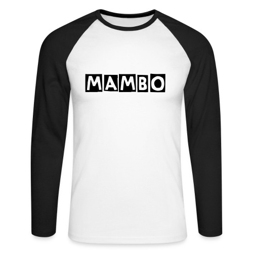 mambo men's raglan  long sleeve white/b - Men's Long Sleeve Baseball T-Shirt