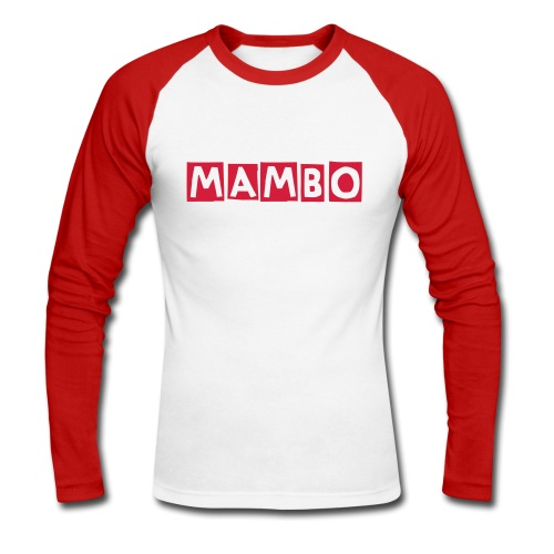 mambo men's raglan  long sleeve white/r - Men's Long Sleeve Baseball T-Shirt