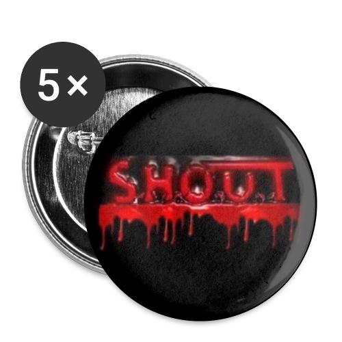 S.H.O.U.T - Blood Logo Buttons - Rintamerkit pienet 25 mm (5kpl pakkauksessa)