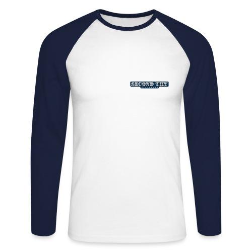 Baseball-Shirt Second Try B.B. ws/navy langarm - Männer Baseballshirt langarm