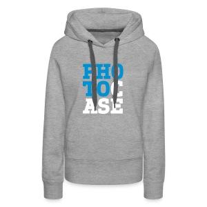 Frauen Premium Hoodie - Der Hoodi ist hellgrau. Der Aufdruck ist hellblau/weiß und im Flockdruck aufgebracht.