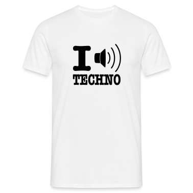 White I love techno / I speaker techno Men's T-Shirts