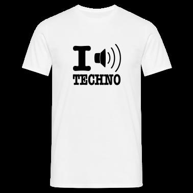 White I love techno / I speaker techno Men's T-Shirts