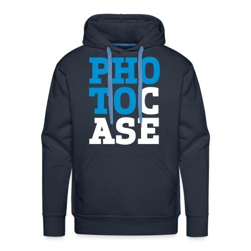 Männer Premium Hoodie - Aufdruck ist blau/braun und ist im Flockdruck aufgebracht.