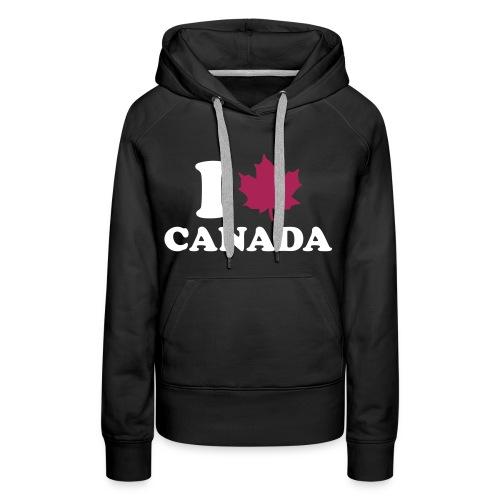 Sweat I LOVE CANADA - femme noir - Sweat-shirt à capuche Premium pour femmes