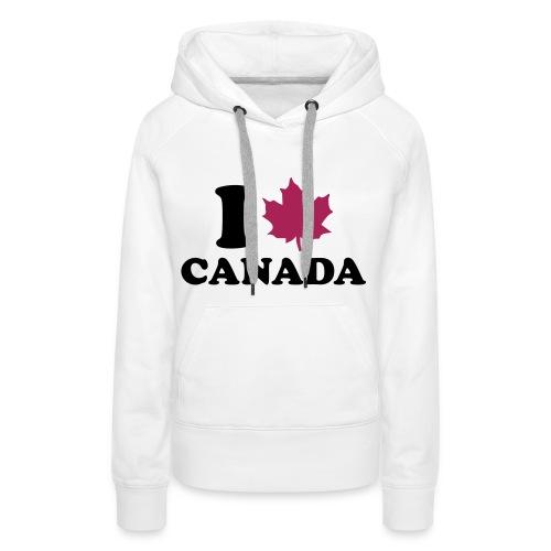 Sweat I LOVE CANADA - femme blanc - Sweat-shirt à capuche Premium pour femmes