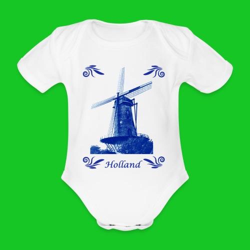 Delft's Blauw rompertje - Baby bio-rompertje met korte mouwen