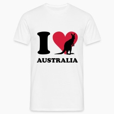 White I love Australia Men's T-Shirts