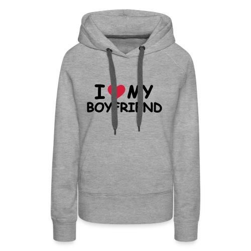 Grau meliert I Love My Boyfriend Pullover - Frauen Premium Hoodie