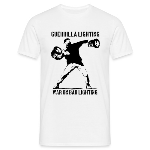 Guerrilla Lighting - Mens Black on White - Men's T-Shirt