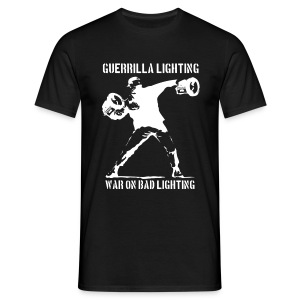 Guerrilla Lighting - white on black - man - Men's T-Shirt
