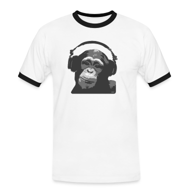 White/black DJ MONKEY by wam Men's T-Shirts
