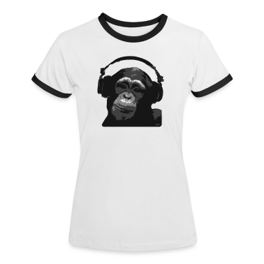 White/black DJ MONKEY by wam Women's T-Shirts