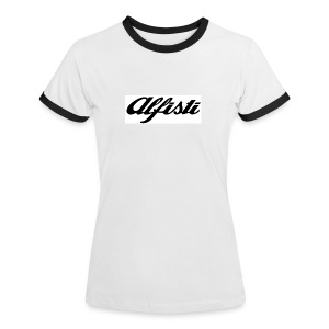 Alfisti Ladies Short Sleeve top - Blue Piping - Women's Ringer T-Shirt