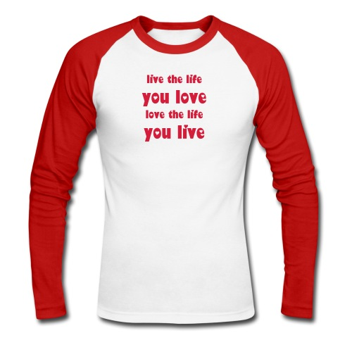 'Love' Red - Men's Long Sleeve Baseball T-Shirt
