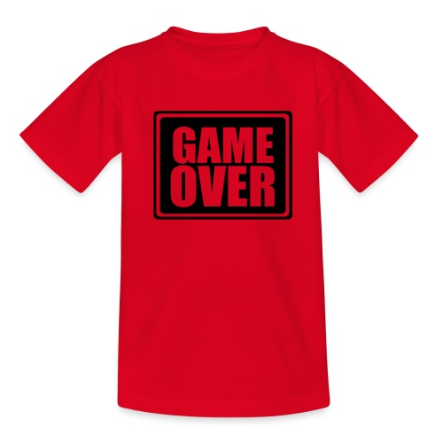 t-shirt GAME OVER (rouge motif noir) - T-shirt Ado