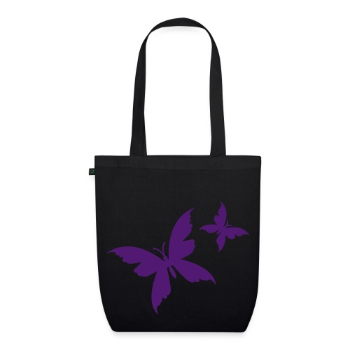 butterfly black/purple organic bag - EarthPositive Tote Bag