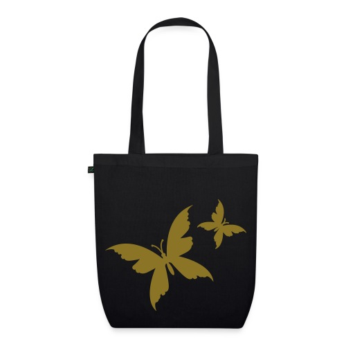 butterfly black/gold metalic organic bag - EarthPositive Tote Bag
