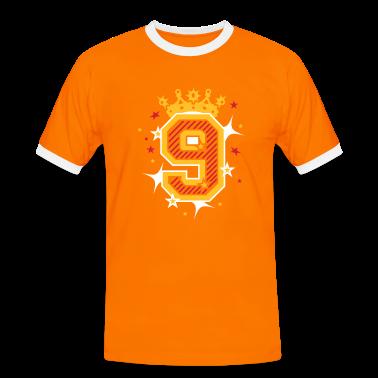 orange wei nummer 9 mit krone und sterne t shirts t shirt spreadshirt. Black Bedroom Furniture Sets. Home Design Ideas