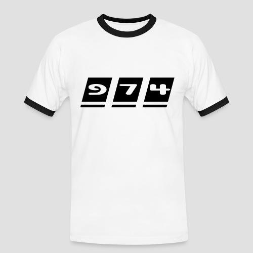 Tee shirt contraste Homme écriture 974 - Réunion - T-shirt contrasté Homme