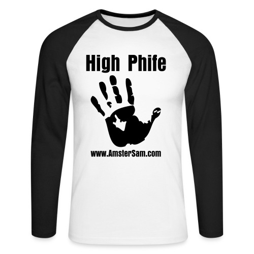 'High Phife' Men's Long sleeve White/Black - Men's Long Sleeve Baseball T-Shirt
