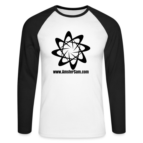 'Swirl' Men's Long sleeve White/Black - Men's Long Sleeve Baseball T-Shirt