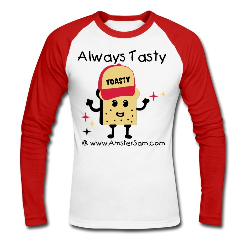'Always Tasty Toasty' Men's Long sleeve White/Red - Men's Long Sleeve Baseball T-Shirt