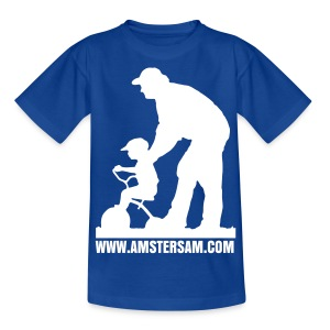 Kid's shirt 'Dad's got your back' Royal Blue/White - Teenage T-shirt