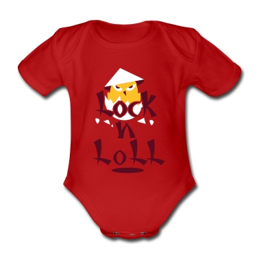 Red Asian rock 'n' roll chick Baby Bodysuits