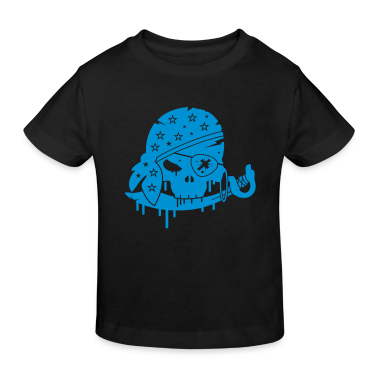 Black Pirate skull with sword and eye patch Kids' Shirts