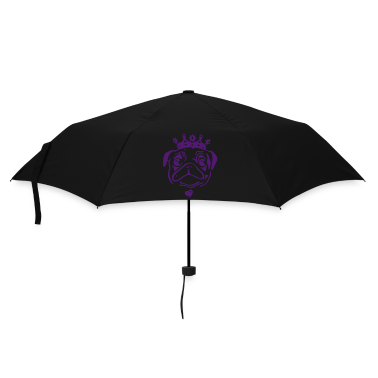 Lilac Pug with crown and heart pendant. Umbrellas