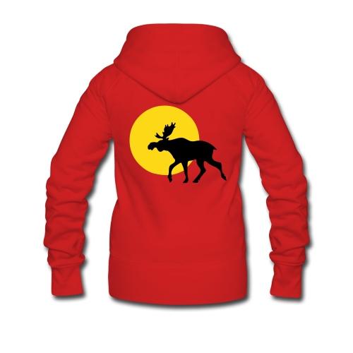 Hettejakke dame - elg i solnedgang - velg farge - Premium hettejakke for kvinner