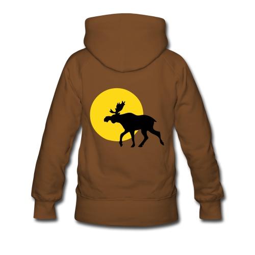 Hettegenser dame - elg i solnedgang - velg farge - Premium hettegenser for kvinner